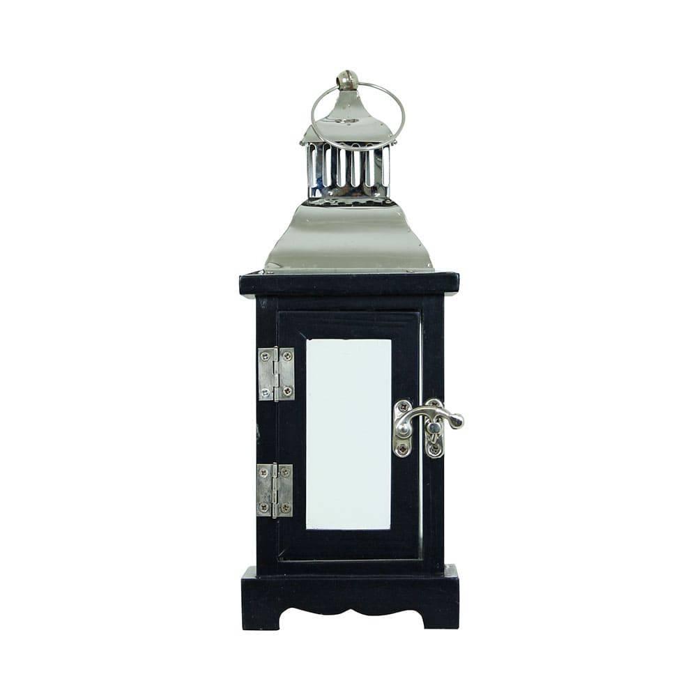 Lanterna Preta e Prata em Madeira e Inox Oldway - 26x10 cm