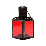 Lanterna Preto e Vermelha em Metal e Vidro - 11x6 cm