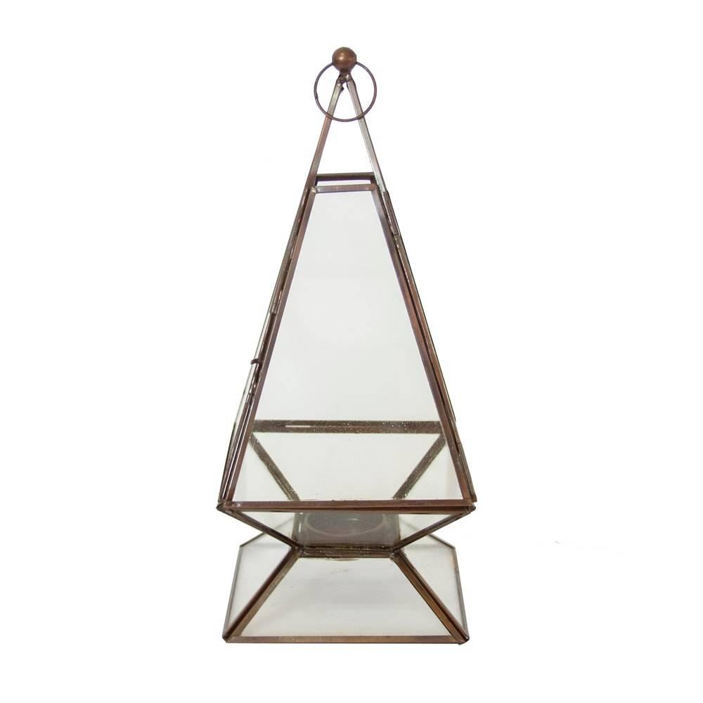 Lanterna Pyramid Grande Transparente em Ferro/Vidro - 30x12 cm