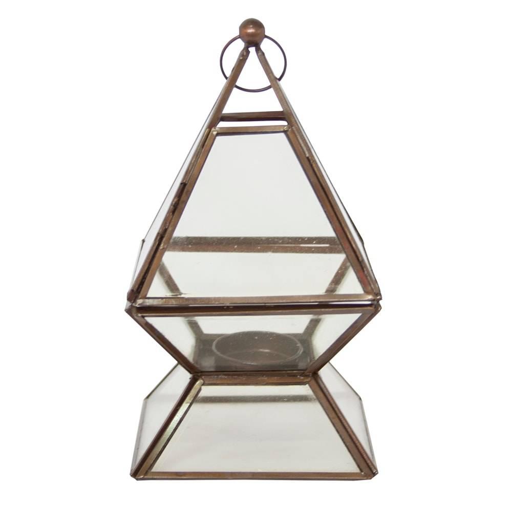 Lanterna Pyramid Transparente Pequena em Vidro - 18x11 cm