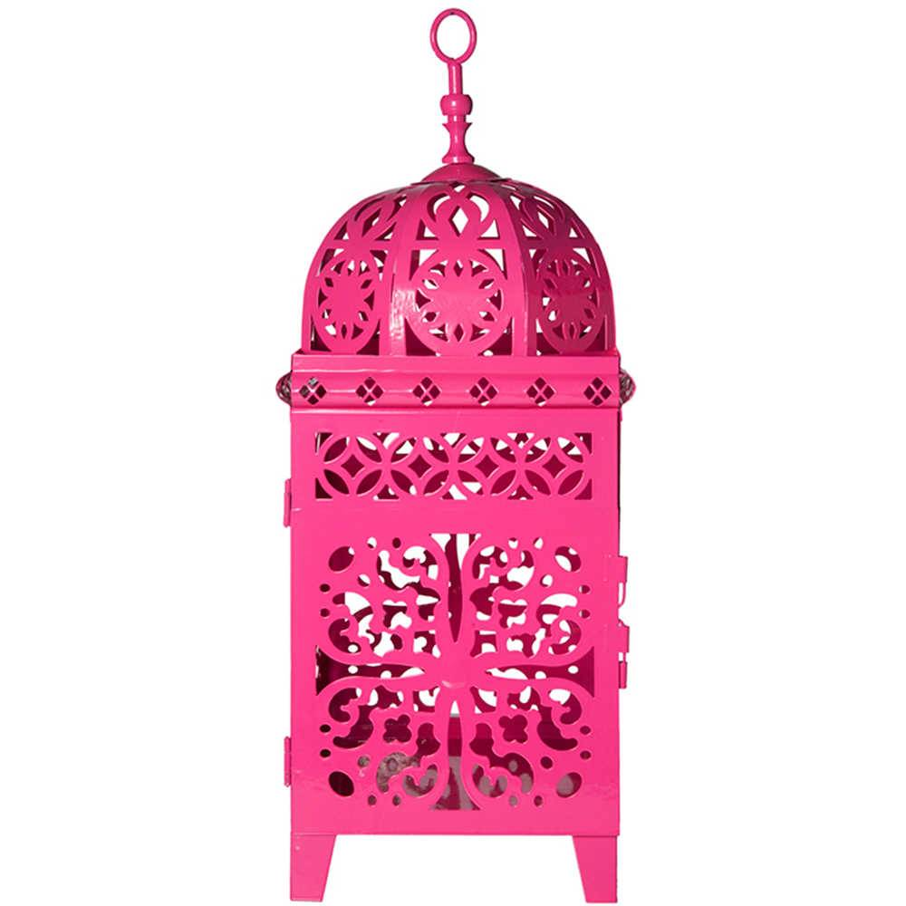 Lanterna Quadrada Grande Marroquina Flor New Rosa em Metal - Urban - 45x17 cm