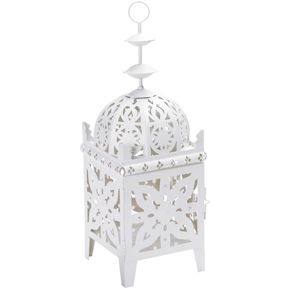 Lanterna Quadrada Marroquina Branca em Metal - Urban - 78x28 cm