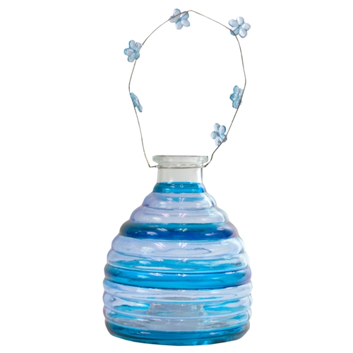 Lanterna Retrô Listrada Azul em Vidro - 26x12 cm