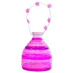Lanterna Retrô Listrada Pink em Vidro - 26x12 cm