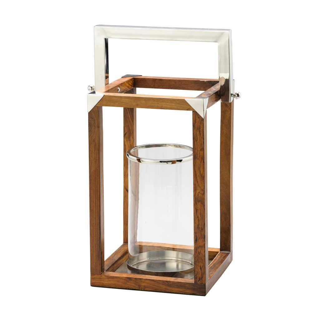 Lanterna Rivenna em Madeira e Alça em Aço - Grande - Lyor Classic - 25x50 cm