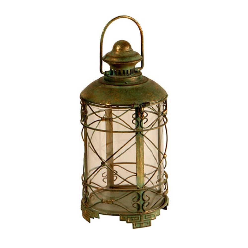 Lanterna Sales Verde Envelhecido em Metal e Vidro - 42x16 cm