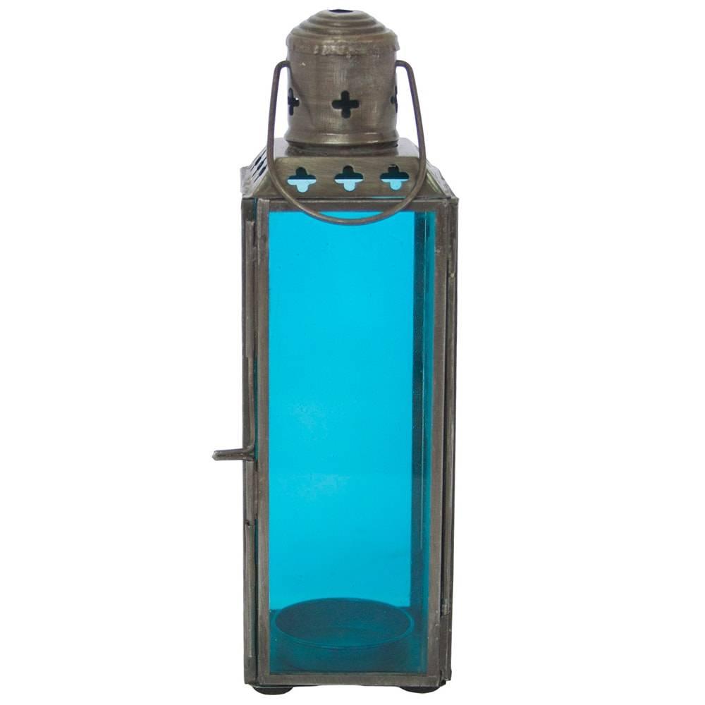 Lanterna Square Fun Pequena Turquesa em Ferro - 19x6 cm