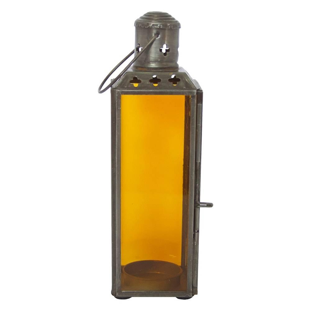 Lanterna Square Fun Pequeno Transparente Ambar em Vidro - 19x6 cm