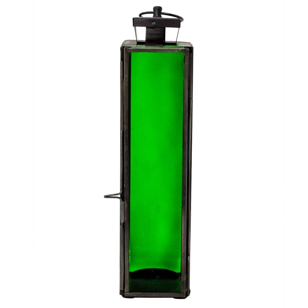Lanterna Square Mystic Verde em Ferro e Vidro - 24x6 cm