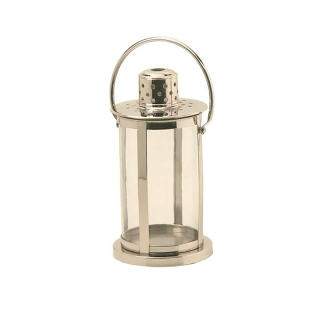 Lanterna Steel Média Prata em Aço Inox e Vidro - 35x22 cm