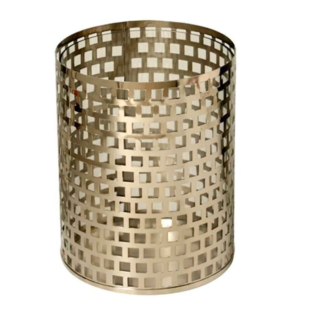 Lanterna Steel Quadriculado em Aço Inox e Vidro - 27x21 cm