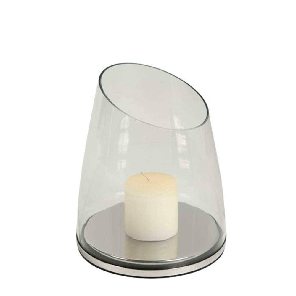 Lanterna Steel Transparente em Aço Inox e Vidro - 19x17 cm
