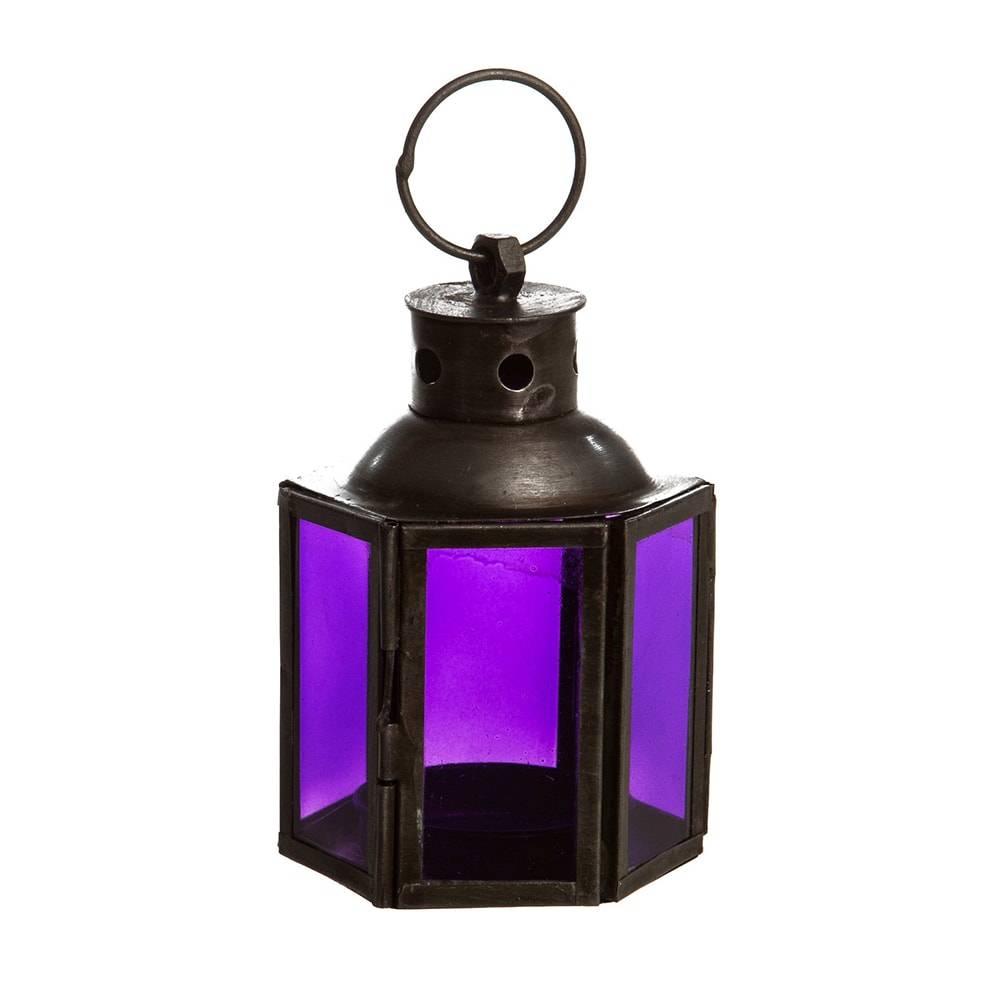 Lanterna Tales Roxa Pequena em Ferro/Vidro - 10x7 cm