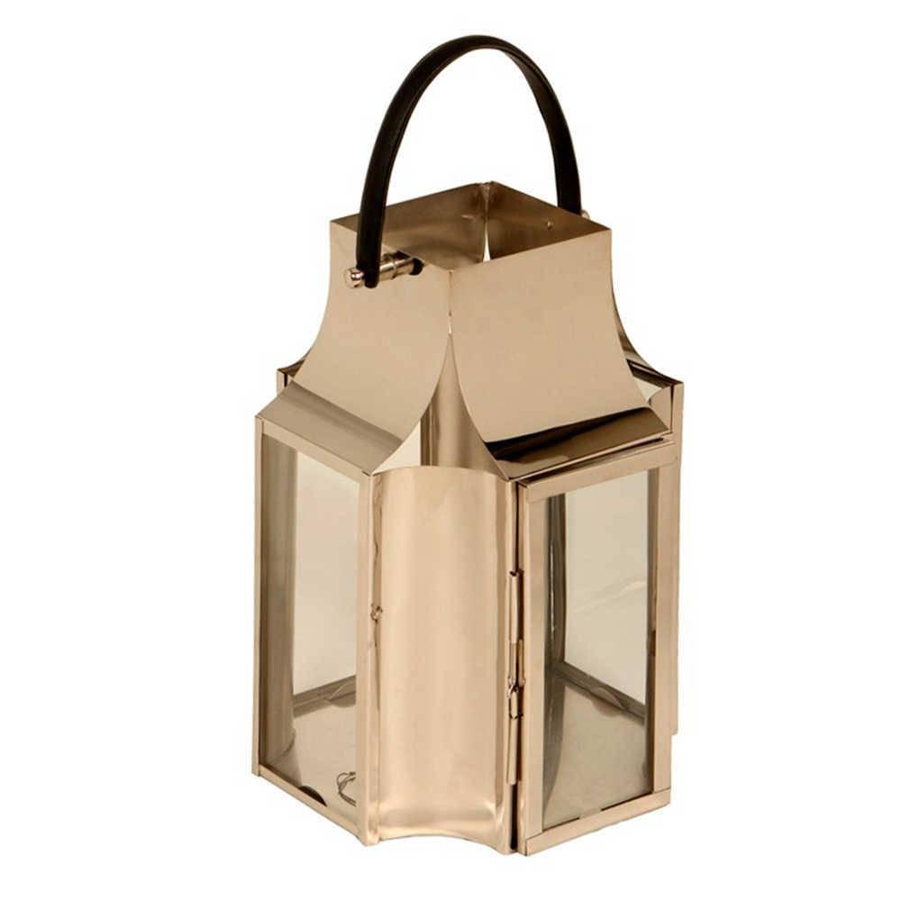 Lanterna Veneza Média em Aço Inox e Alça de Couro - 67x35 cm
