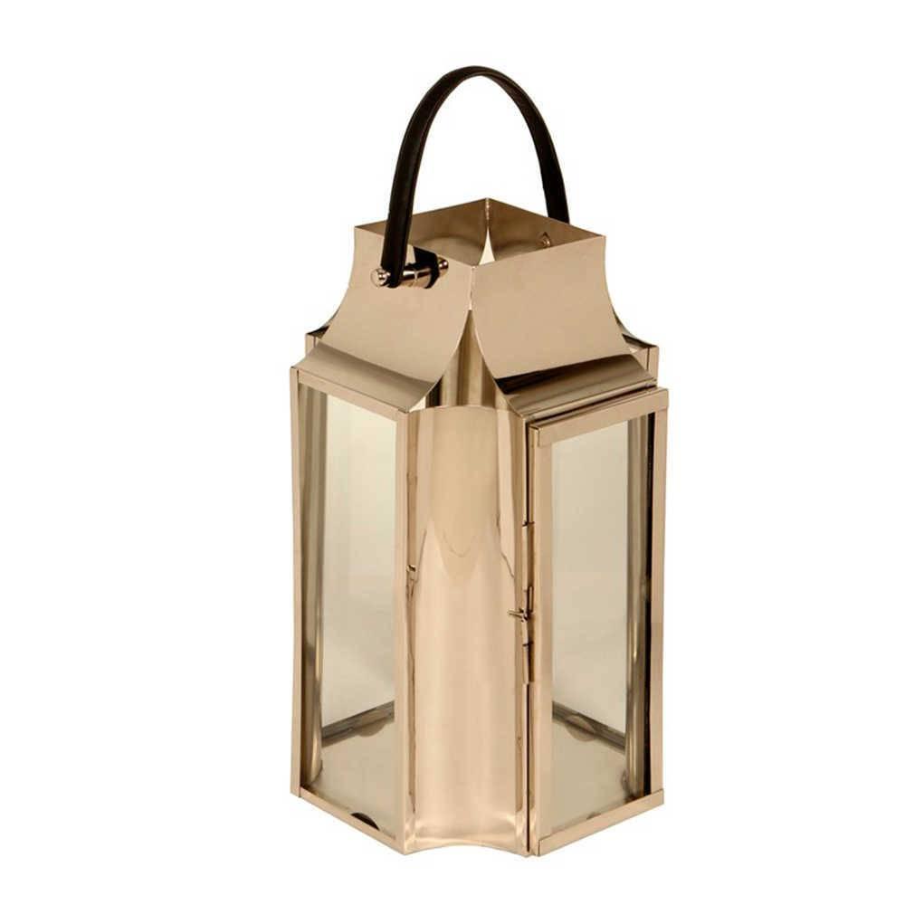 Lanterna Veneza Pequena em Aço Inox e Alça de Couro - 60x33 cm