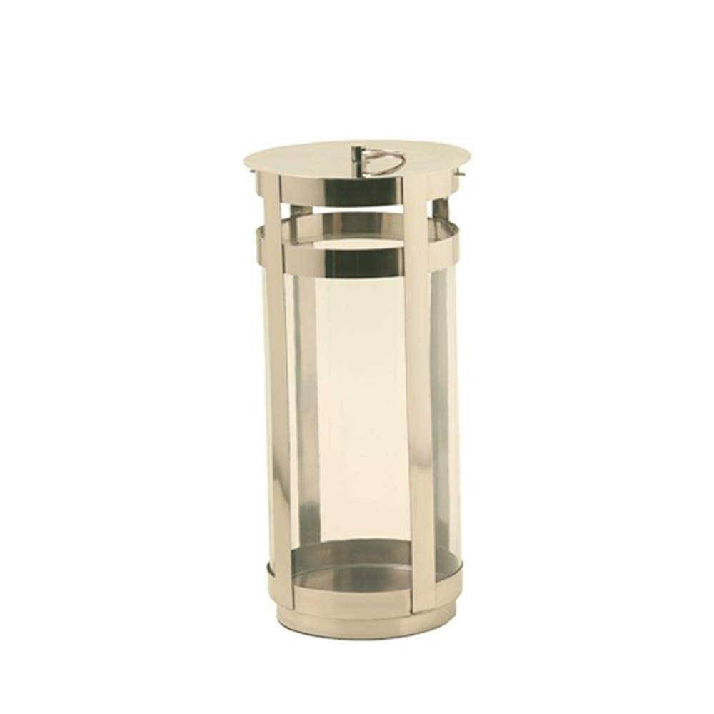 Lanterna Venza Prata em Aço Inox e Vidro - 44x20 cm
