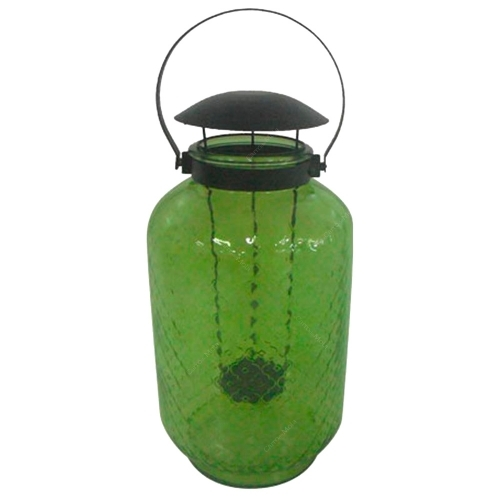 Lanterna Verde Claro Alto em Vidro - 44x23,5 cm