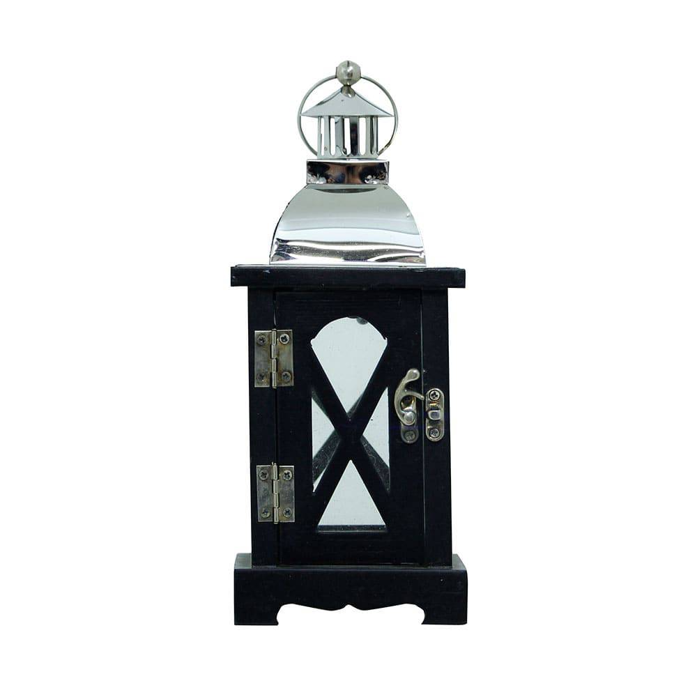 Lanterna X Preta e Prata em Madeira e Inox Oldway - 25x10 cm