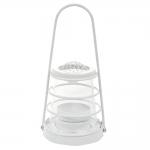 Lanterna Zinc Branco Pequena em Metal - 16x8 cm
