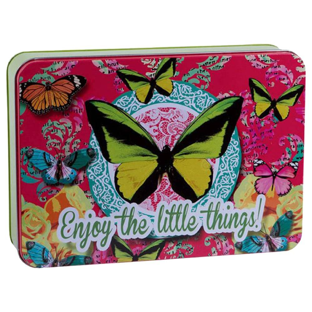 Lata Butterfly Multicolorida em Metal - 26x18 cm