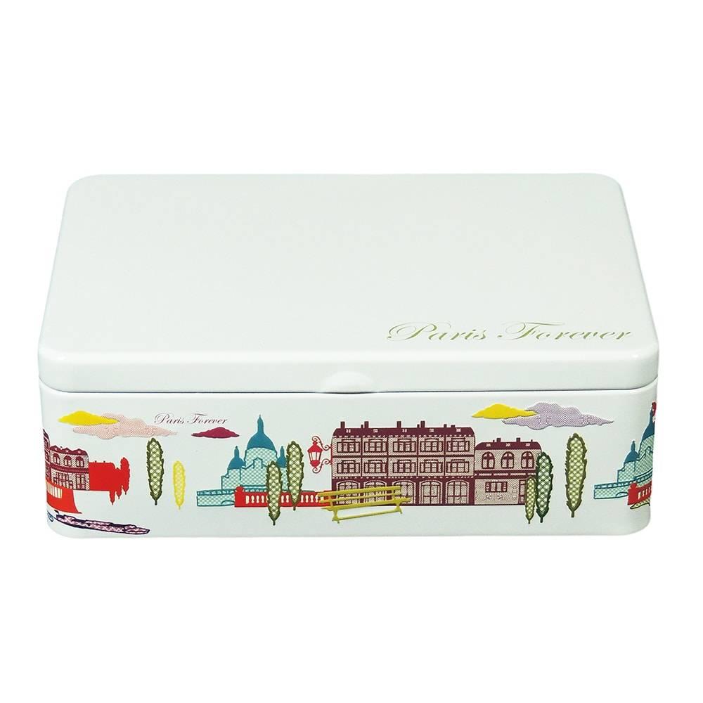 Lata para Chá Paris Forever - 6 Divisórias - Branco em Metal - 22x16 cm