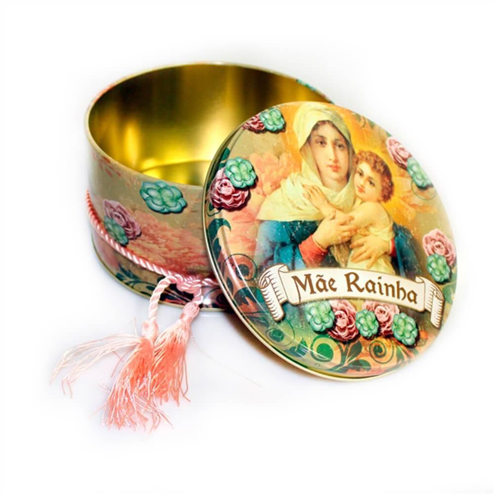 Lata Decorativa Redonda Mãe Rainha Multicolorida em Metal - 14x8 cm