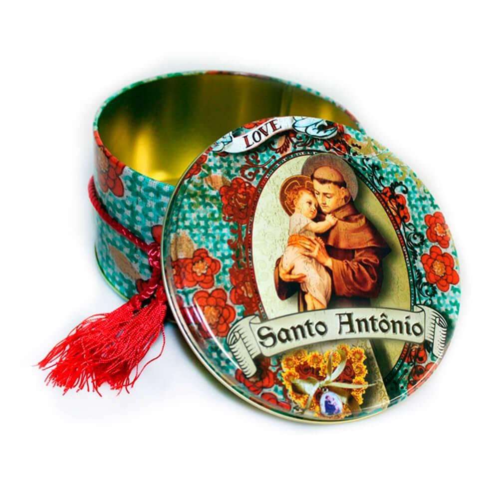 Lata Decorativa Redonda Santo Antônio Verde em Metal - 14x8 cm