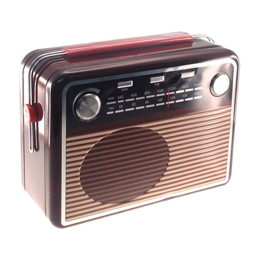 Lata com Tampa Rádio Retrô Marrom em Metal - 25x22 cm