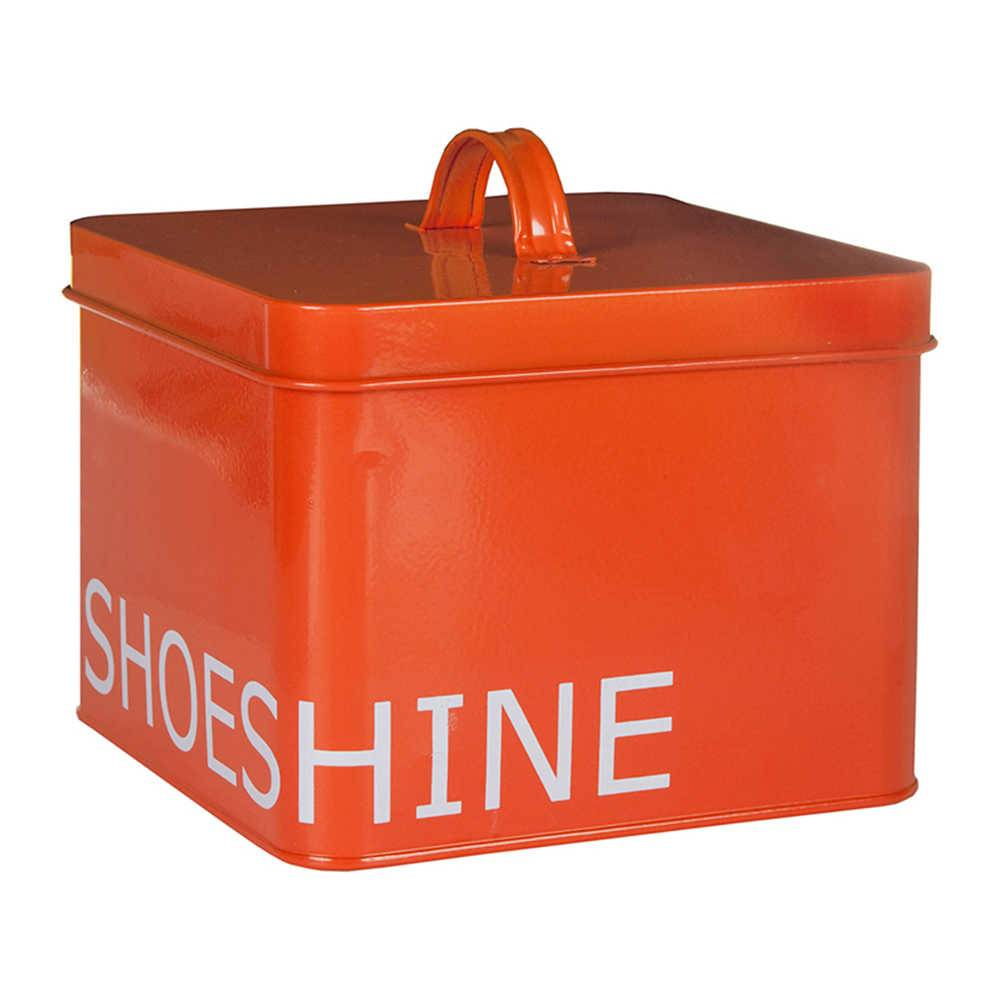Lata com Tampa Shoeshine Laranja em Metal - Urban - 20x20 cm