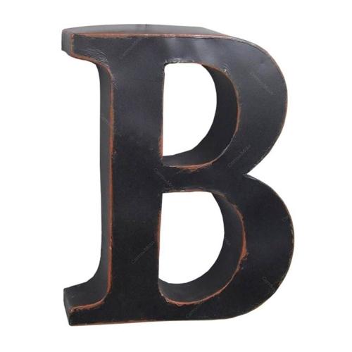 Letra B Decorativa Preta em Metal - 38x30,5 cm