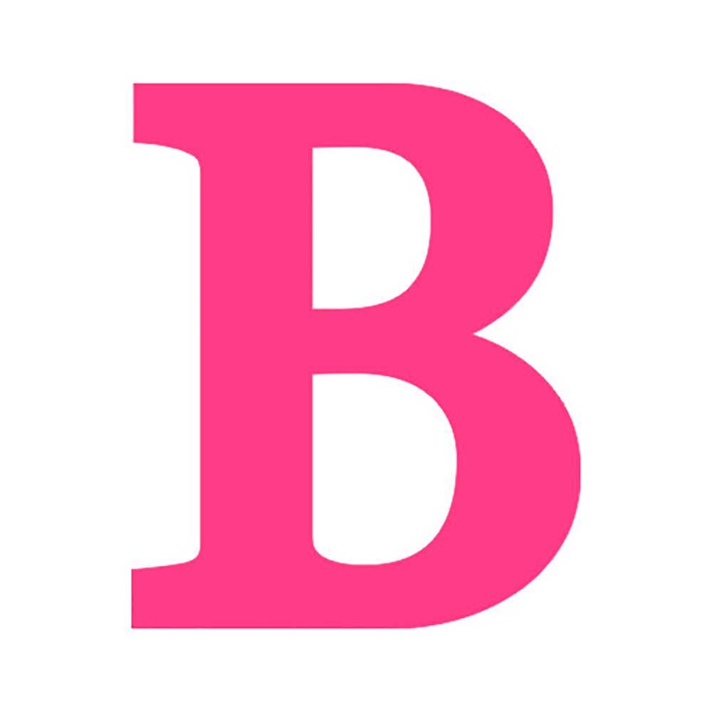 Letra B Decorativa Rosa em MDF - 19x16 cm