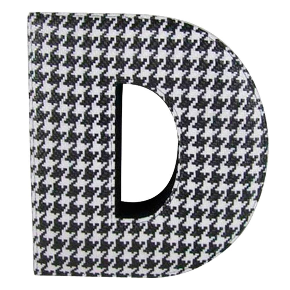 Letra D Decorativa de Parede Preto e Branco em Tecido - 58x26 cm