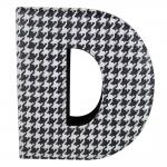 Letra D Decorativa de Parede Preto e Branco em Tecido