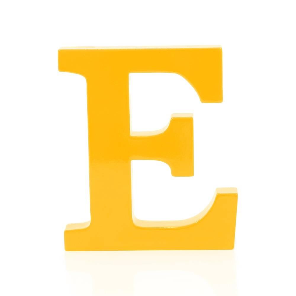 Letra E Decorativa Amarela em MDF - 19x16 cm