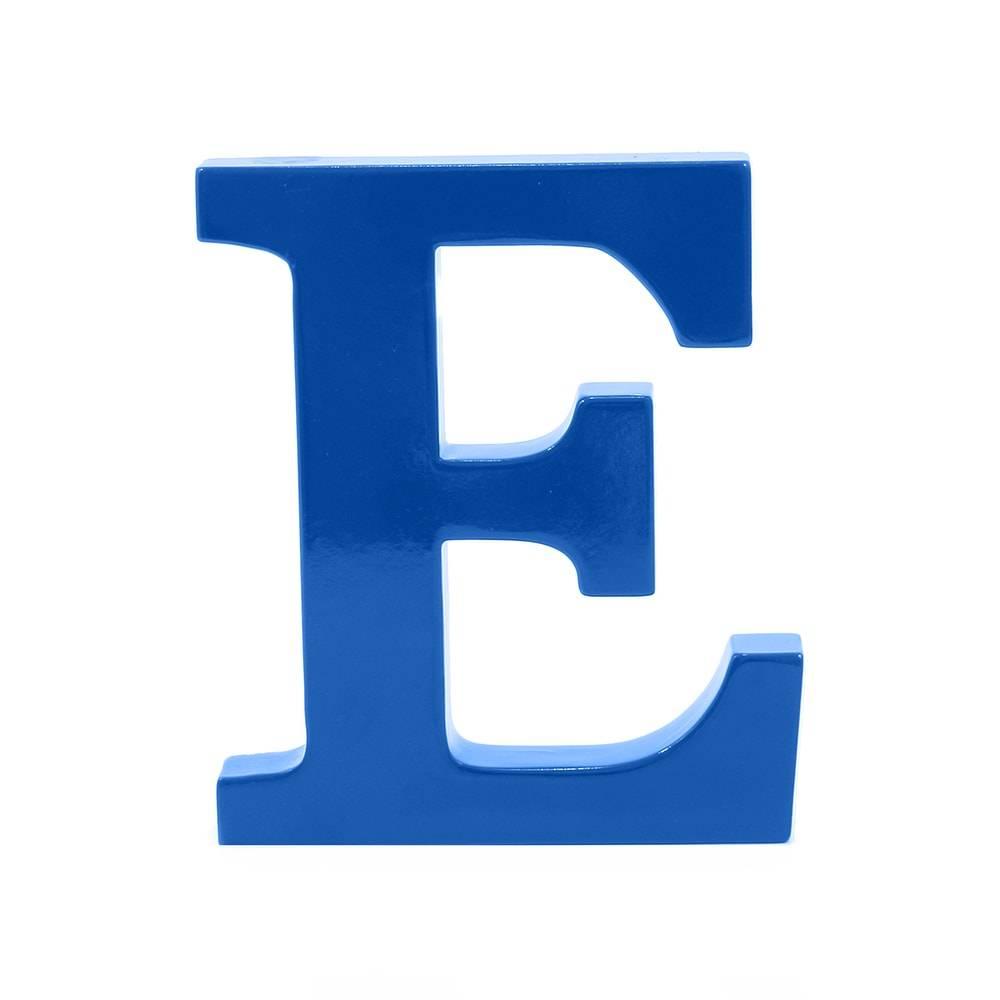 Letra E Decorativa Azul Royal em MDF - 19x16 cm
