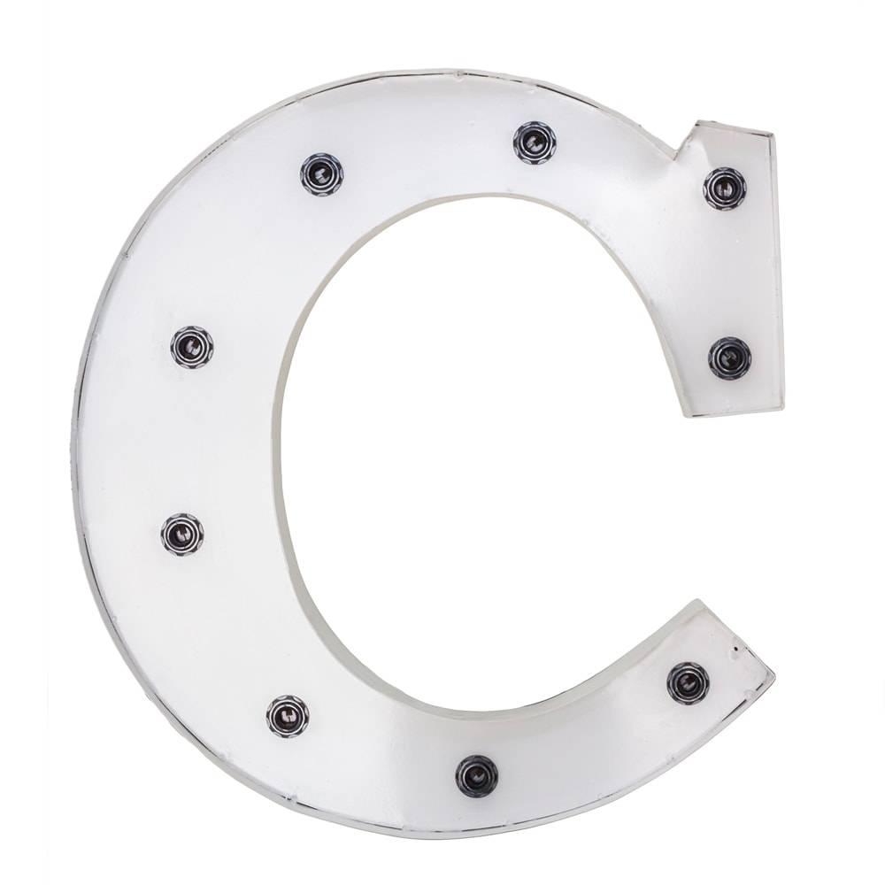 Letra Decorativa C com Leds Embutidos Branca em Ferro - 50x50 cm