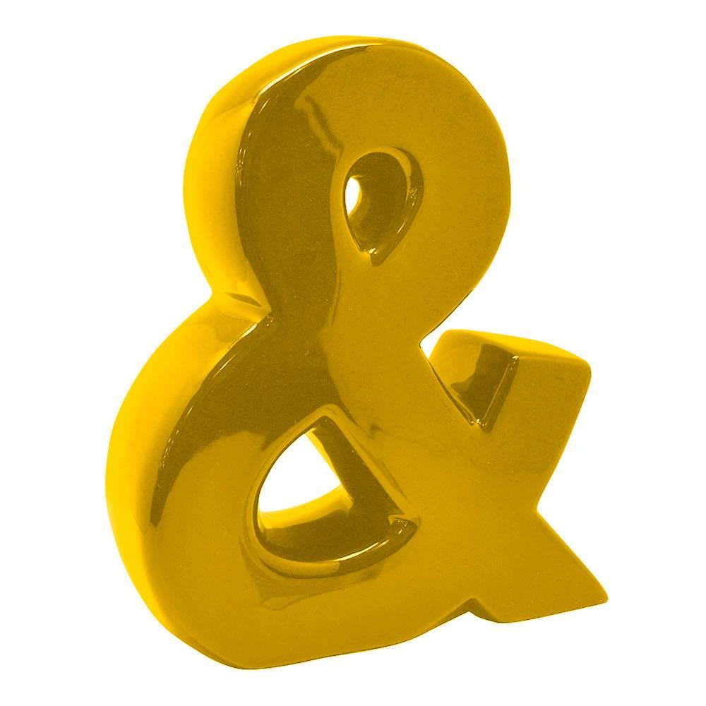 Letra Decorativa E Comercial Amarela em Cerâmica - Urban - 25,5x22 cm