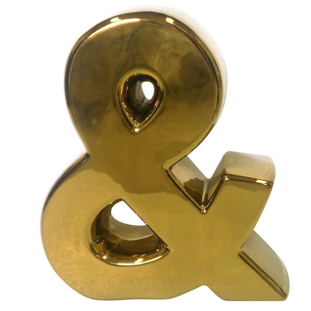 Letra Decorativa E Comercial Dourada em Cerâmica - Urban - 25,5x22 cm