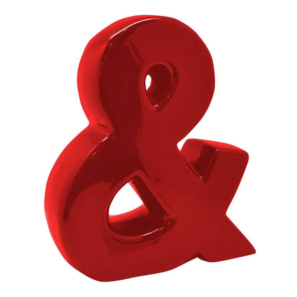 Letra Decorativa E Comercial Vermelha em Cerâmica - Urban - 25,5x22 cm