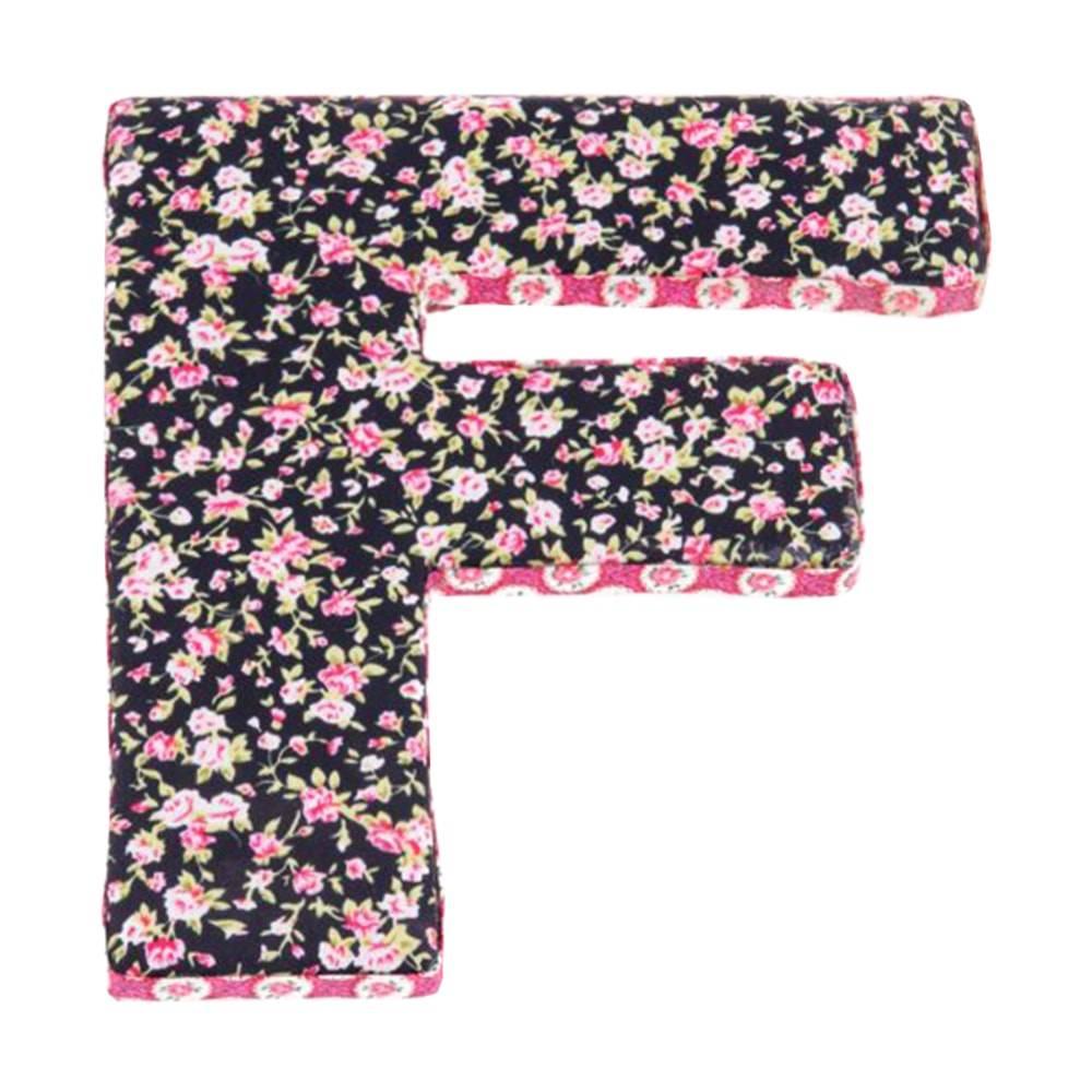 Letra Decorativa F Patchwork em Madeira - 20x20 cm