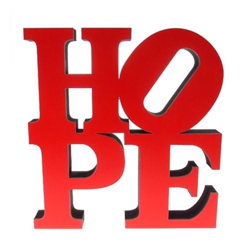 Letra Decorativa Hope NY Vermelho em Madeira - 20x20 cm