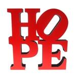 Letra Decorativa Hope NY Vermelho em Madeira