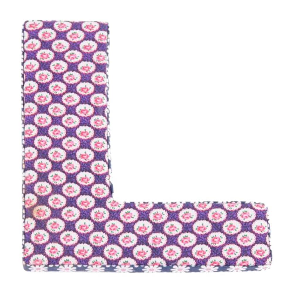 Letra Decorativa L Patchwork em Madeira - 20x20 cm