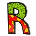 Letra Decorativa Letter R - Romero Britto - em Resina - 15x11 cm