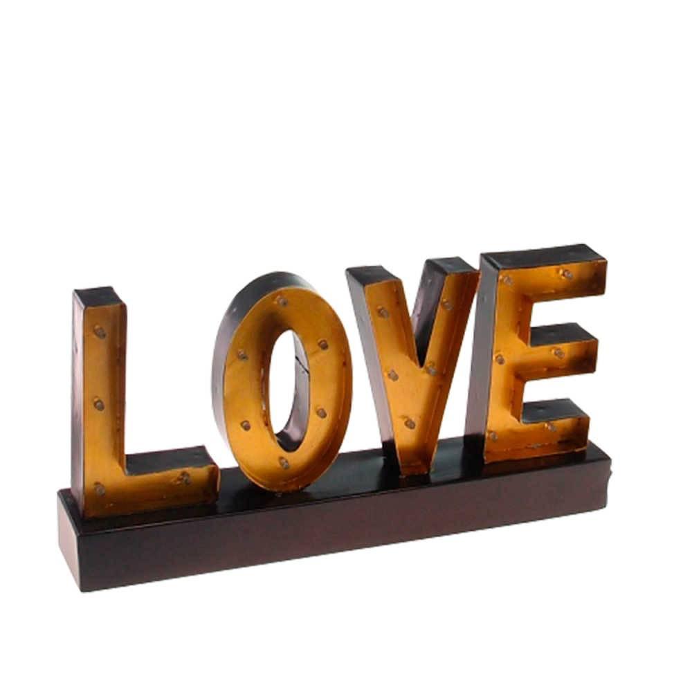 Letra Decorativa Love Amarelo em Metal - 38x20 cm