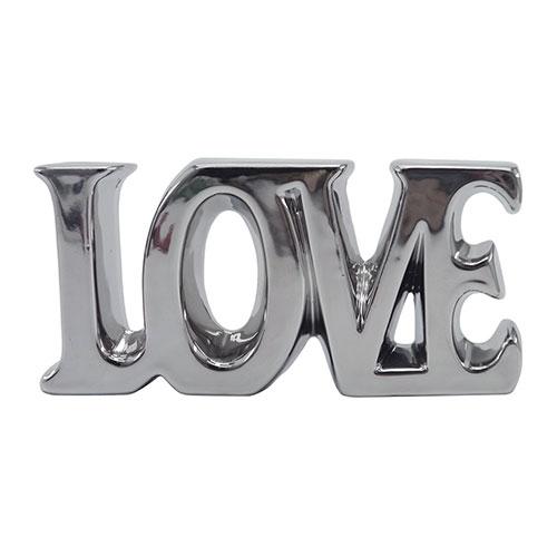 Letra Decorativa Love Cromado em Cerâmica - 19x9 cm