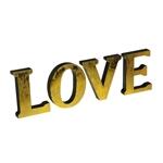Letra Decorativa Love Dourada em Metal - 24x21 cm