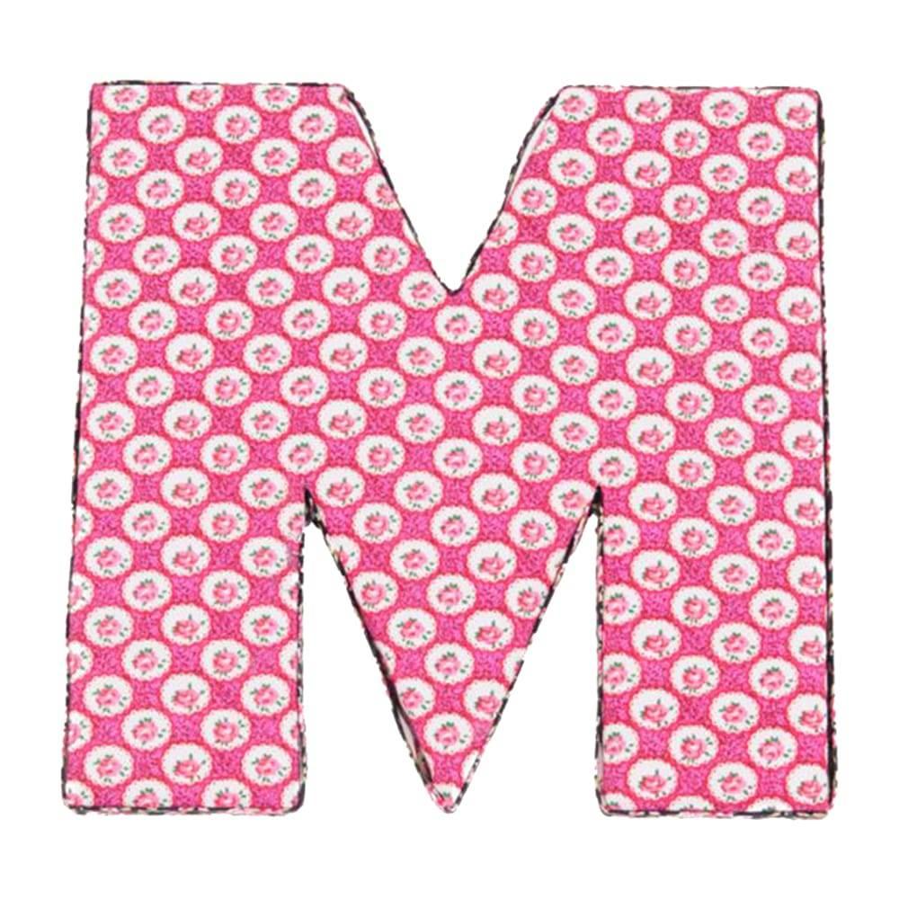 Letra Decorativa M Patchwork em Madeira - 20x20 cm