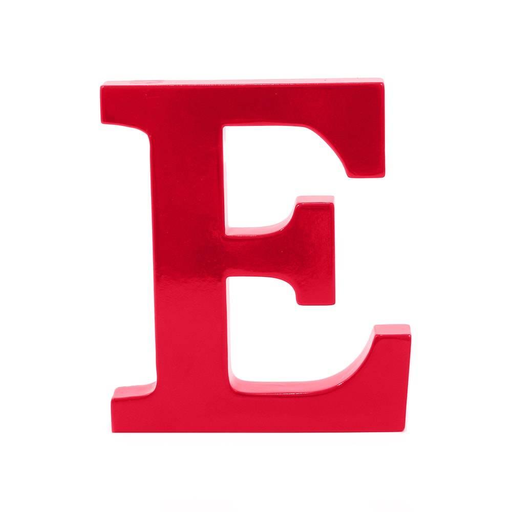 Letra E Decorativa Vermelho em MDF - 19x16 cm