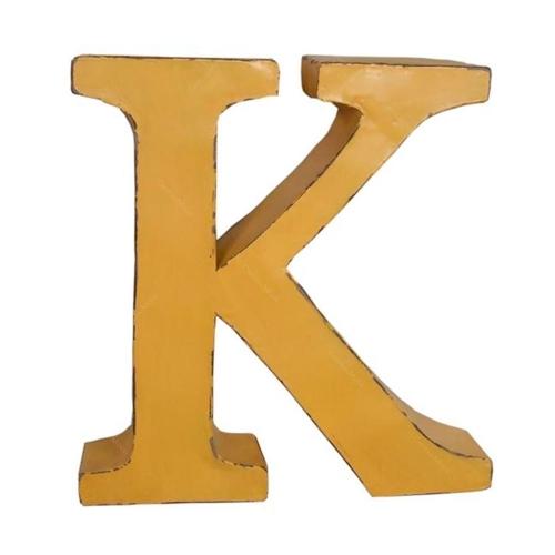 Letra K Decorativa Amarela em Metal - 38x37 cm